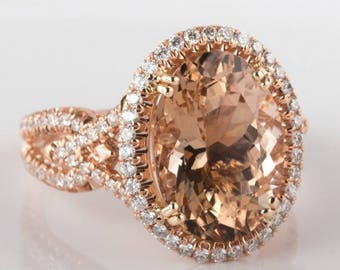 7 Carat Morganite Engagement Ring, Oval Cut Peach Morganite Ring, Rose Gold Morganite Ring, Halo Ring, Art Deco Diamond Ring, Morganite Ring
