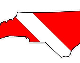 North Carolina State (Y34) Diver Down Flag Vinyl Decal Sticker Car Laptop/Netbook