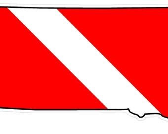 South Dakota State (B42) Diver Down Flag Yeti Tumbler Decal Sticker Laptop