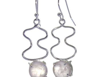 Rose Quartz Earrings, 925 Sterling Silver, Unique only 1 piece available! color pink, weight 4g, #40637
