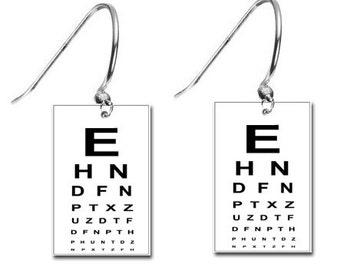 Eye Doctor Vision Chart Opthomologist Optometrist Hoop Earrings