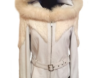 White Leather and Fur Hooded Jacket