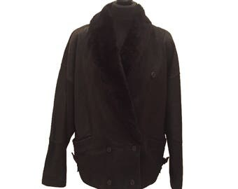 Black Flying Jacket with Faux Fur Collar