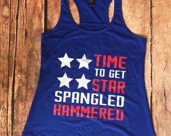 Flag Shirt - 4th of July - Star Spangled Hammered - American Flag Tank Top - Racerback - Flag Tank Top - Drinking Tank Top