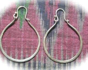 ON HOLD Vintage Lrg Fishhook Sterling Silver Hoop Earrings Handmade Hammered MINT