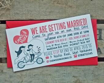 Rustic Vintage Wedding Invitations Love Bike