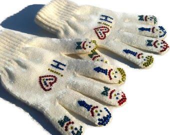 Swarovski gloves- girls gloves-crystals Swarovski-sparkly gloves-cheap gloves-Glitter gloves-lace gloves-crystal glove-children's gloves