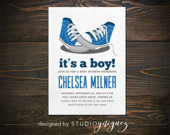 "It's A Boy Printable 5"" x 7"" Invitation, Blue Shoes Baby Shower Printable Invitation, Baby Sneakers Baby Shower Printable Invitation"