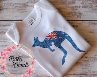 Australian flag kangaroo top/romper