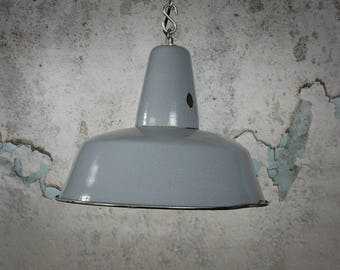 Vintage grey Polish enamel factory light, vintage Industrial lamp, pendant light, industrial lighting
