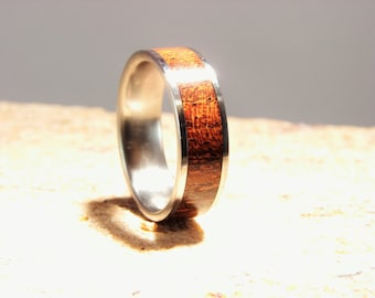 Desert Ironwood and Titanium inlay Ring, Ironwood inlay, Desert Ironwood ring