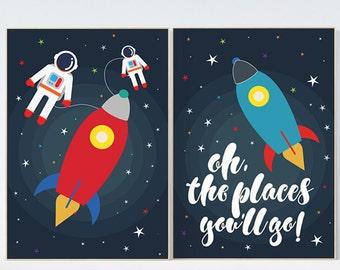 Oh the places you'll go, space theme, nursery decor, outer space nursery wall art, playroom decor, kids room decor, baby boy room, boys room