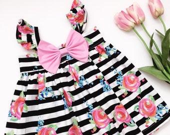 Pink Roses Big Bow Dress ! Spring Dress ! Heirloom Dress !