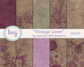 Vintage Linen Shabby Chic Digital Paper Backgrounds - Stationery, Junk Journal, Old World Charm Scrapbooking Paper, Instant Download, CU
