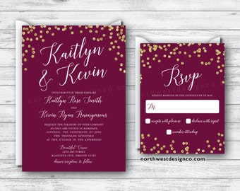 Maroon Gold Wedding Invitation Reply Card Set Wine Themed Boho Invitation Suite Burgundy Invite Reply RSVP Gold Bling Red Elegant Invitation