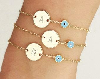 Customized Evil Eye Bracelet, Initial Disk Bracelet with Evil Eye, Gold Personalized Bracelet,  Talisman Bracelet, Personalize /  B440