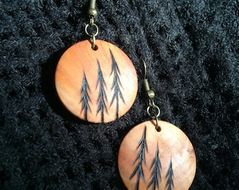 Wooden Earrings, Lightweight Round Dangle Earring, Wood Burned, One of A Kind, Hypoallergenic, Nickel Free - Tri Tree