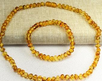 "Baltic Amber Adult Necklace 18"" & Bracelet, Baltic amber, jewelry for Women, Baltic amber necklace, Baltic  amber necklace adult"