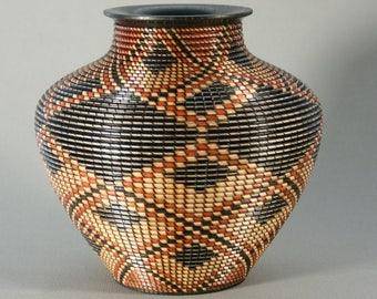 Beautifully Shaped Basket Pattern Vessel/ Segmented Construction