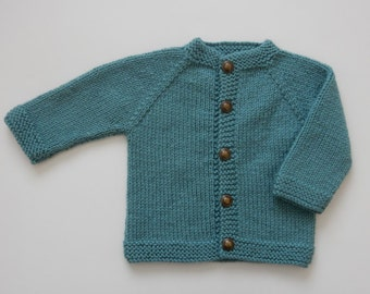 ON SALE / Hand Knit Baby Girl Sweater / 3 - 6 months / Teal Colour Baby Sweater / Hand Knit Cardigan / Baby Shower Gift / Baby Clothing