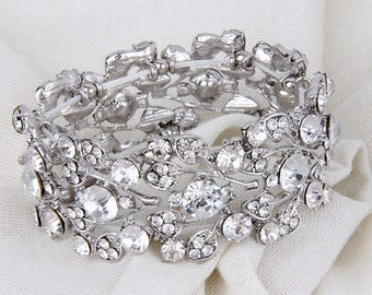 Bridal Bracelet, Silver Wedding Bracelet, Crystal Stretch Bracelet, Rhinestone Bracelet, Wedding Jewelry, Silver Bridal Bracelet, Bridesmaid