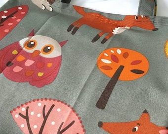 Fox and owl forest tote bag