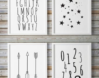 Nursery Wall Art, Playroom Art, Printable Nursery Art, Kids Prints, Nursery Set, Nursery Illustration, ABC Wall Art, Alphabet Letters,Stars