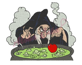 RESERVE Custom machine embroidery design snow white witch apple cauldron - instant download