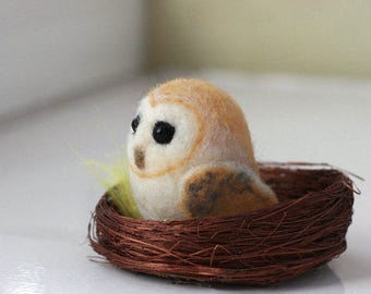 Miniature Needle Felted Barn Owl, Felted Owl Wool Sculpture, Owl Gifts, Owl Art, Owl Decoration