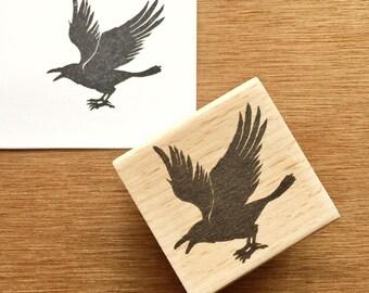 Raven stamp, crow stamp, bird rubber stamp, raven rubber stamp, bird stamp, crow rubber stamp set, raven hand carved stamp
