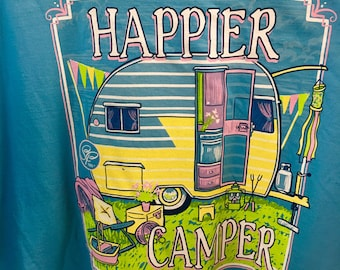 Sassy Frass Happier Camper comfort color tee shirt new