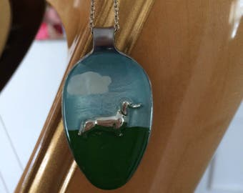 Dachshund in the park resin spoon pendant necklace