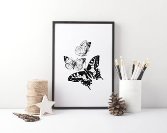 Vintage Butterfly trio Print