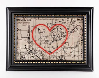 Twin Cities Hand Embroidered Heart Map, Paper Gift, Cotton Anniversary, Graduation Gift, Travel, Minneapolis Map, St. Paul, Engagement, Love