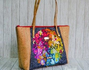 Cork leather handbag, Cork fabric bag, fabric handbags, tote bag, travel bag, gift women, College dorm girl, Vegan purse, Everyday tote
