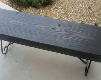 Gun metal gray custom wood beam bench.