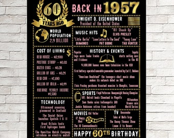 60th Birthday Chalkboard, 60th Birthday for Her, Over The Hill, Born in 1957 60th Birthday Gift 1957 Birthday Poster, 60th Birthday Gift,