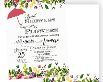 April Bridal Shower invitation, umbrella bridal shower invitation, April showers bring May flower Invitation, bridal shower, Back included
