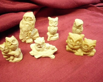 """6 Off White Resin Owls 2"""" to 3"""" Detailed Whimsical All Different Made in Mexico"""