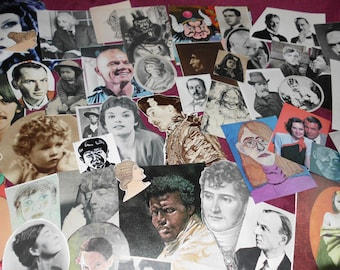 109 Piece Ephemera Pack Faces Men Women Children Historical Celebrity Most Vintage Collage Mixed Media Altered Art