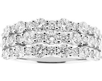 ID: 11006 Ladies Fashion Ring with Triple Row of Diamonds in 18k White Gold
