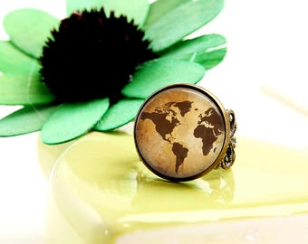 Vintage Maps Rings Statement Ring World Map Antique Brass Adjustable Ring Travels Adventures Novelty Ring Mothers Day jewelry gift for her