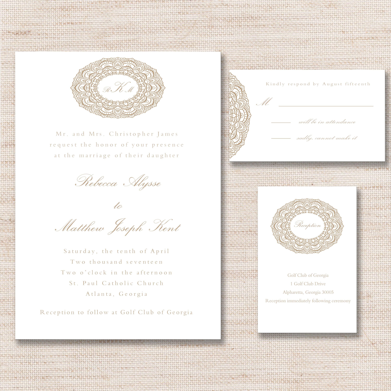 Elegant Gold Lace Wedding Invitation, RSVP Card & Reception Card ...