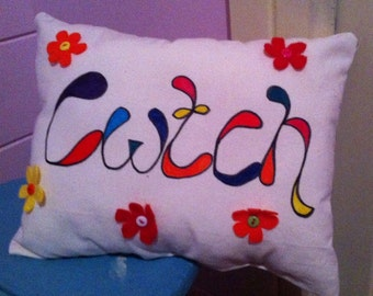 Cwtch & flowers ~ welsh design gift cushions ~ perfect gift for any occasion