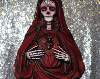 Large Wall Hanging Day of the Dead Sugar Skull Spiderweb Skeleton Mary