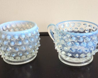 FENTON French Opalescent Hobnail individual sugar and mustard