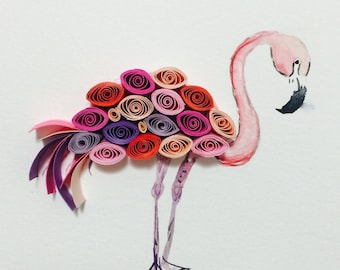 Quilled paper art flamingo