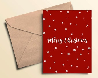 Merry Christmas Snow Holiday Cards