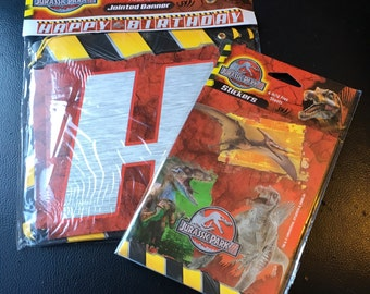 Jurassic Park  III 3 One Jointed Banner 7 Ft 2.3 M 4 Acid Free Sheets Sticker  Birthday Party Dinosaurs New Unopened