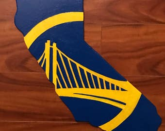 California shape with Golden State Warriors logo